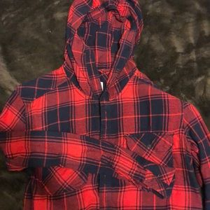 TNA Blue and Red Hooded Flannel